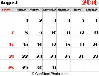 Calendar 2016 august