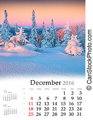 Calendar 2016. December. Colorful winter landscape in the ...