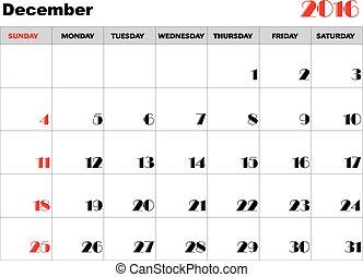 Calendar 2016 december