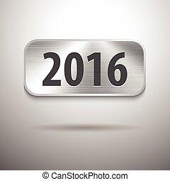 2016 digits on brushed metal tablet