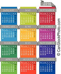 Calendar 2016 - English calendar for year 2016, week starts...