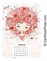 Calendar 2016, february month. Season girls design. Vector...