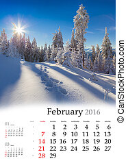 Calendar 2016. February. Colorful winter landscape in the...