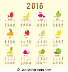 Calendar 2016 Fruit Cute Cartoon Vector