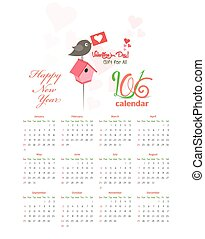 Calendar 2016 greeting card