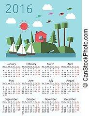 Calendar 2016, house, landscape.eps