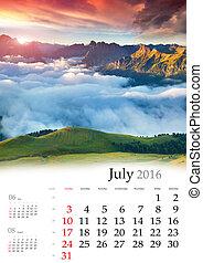 Calendar 2016. July.
