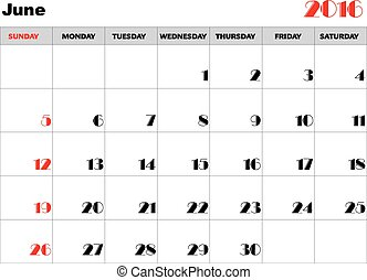 Calendar 2016 june