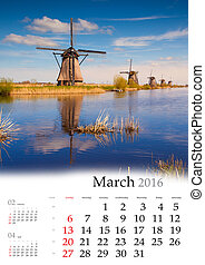Calendar 2016. March. Colorful spring landscape on the water...