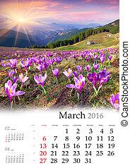 Calendar 2016. March.