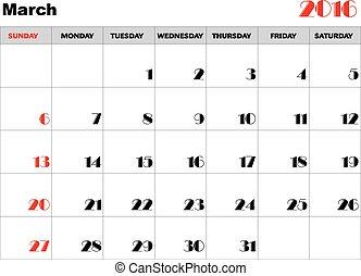 Calendar 2016 march