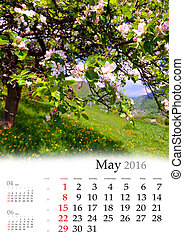 Calendar 2016. May. Colorful spring landscape in the blossom...