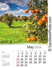 Calendar 2016. May.
