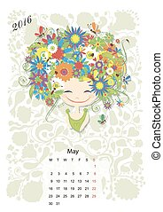 Calendar 2016, may month. Season girls design. Vector...
