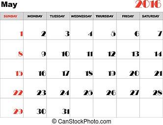 Calendar 2016 may