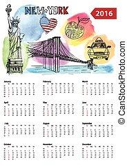 Calendar 2016. New York lsymbols,Watercolor splashes -...