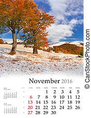 Calendar 2016. November.