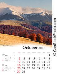 Calendar 2016. October