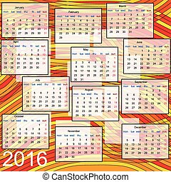 calendar 2016 on abstract multicolor background