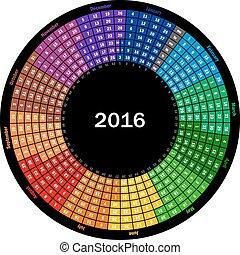Calendar 2016 - Round calendar 2016