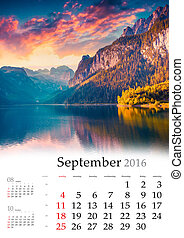 Calendar 2016. September. Colorful autumn landscape in the...