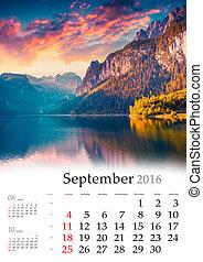 Calendar 2016. September. Colorful autumn landscape in the...