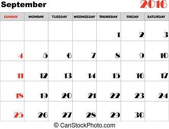 Calendar 2016 september