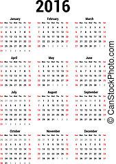 Calendar 2016 - Simple calendar for 2016. Calendar template.