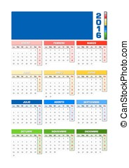 Calendar 2016 Spanish with colored seasons for Southern hemisphere