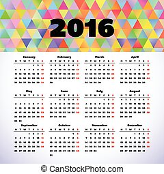 Calendar 2016 template design with header picture starts...