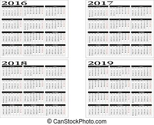 Calendar 2016 to 2019