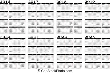 New calendar in english 2016 to 2023