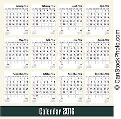 Calendar 2016. vector illustration