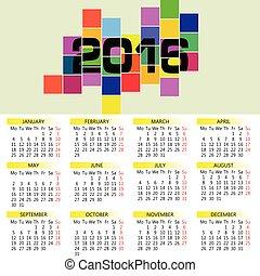 calendar 2016 vector in colorful