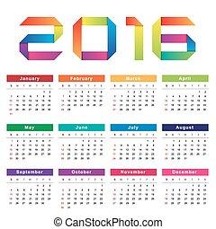 Calendar 2016. Week starts from Sunday