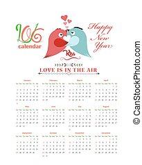 Calendar 2016 with birds kissing