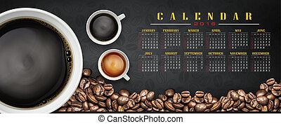 calendar 2016 with coffee backgroun