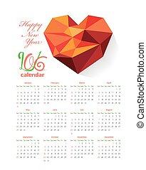 Calendar 2016 with geometrical