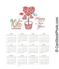 Calendar 2016 with hearts tree and