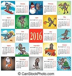 Calendar 2016 with monkeys