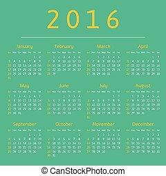 Calendar 2016 year, week starts with sunday