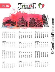 Calendar 2016.Italy Landmarks panorama,watercolor splash