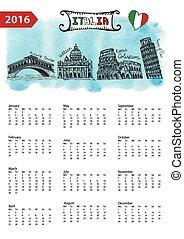 Calendar 2016.Italy Landmarks skyline,watercolor splash