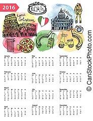 Calendar 2016.Italy,Roma Landmarks,symbols,watercolor -...