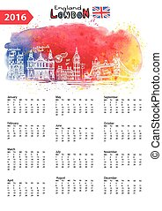 Calendar 2016.London Landmarks panorama,watercolor splash