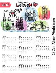 Calendar 2016.London Landmarks skyline, watercolor splash