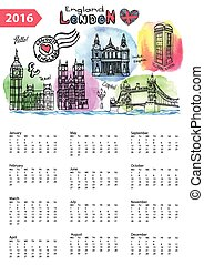 Calendar 2016.London Landmarks skyline,watercolor splash
