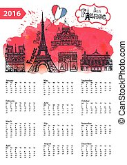 Calendar 2016.Paris Landmarks panorama,watercolor splash