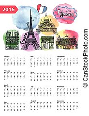 Calendar 2016.Paris Landmarks skyline,watercolor splash