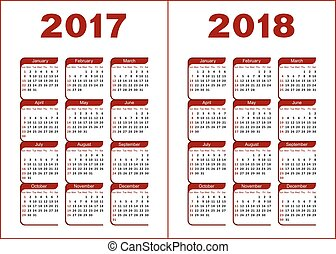 Calendar 2017, 2018 - Calendar for 2017, 2018. Red and black...